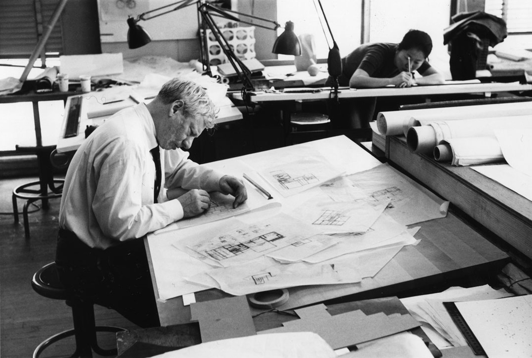 Louis Kahn at work in his studio in 1961.
