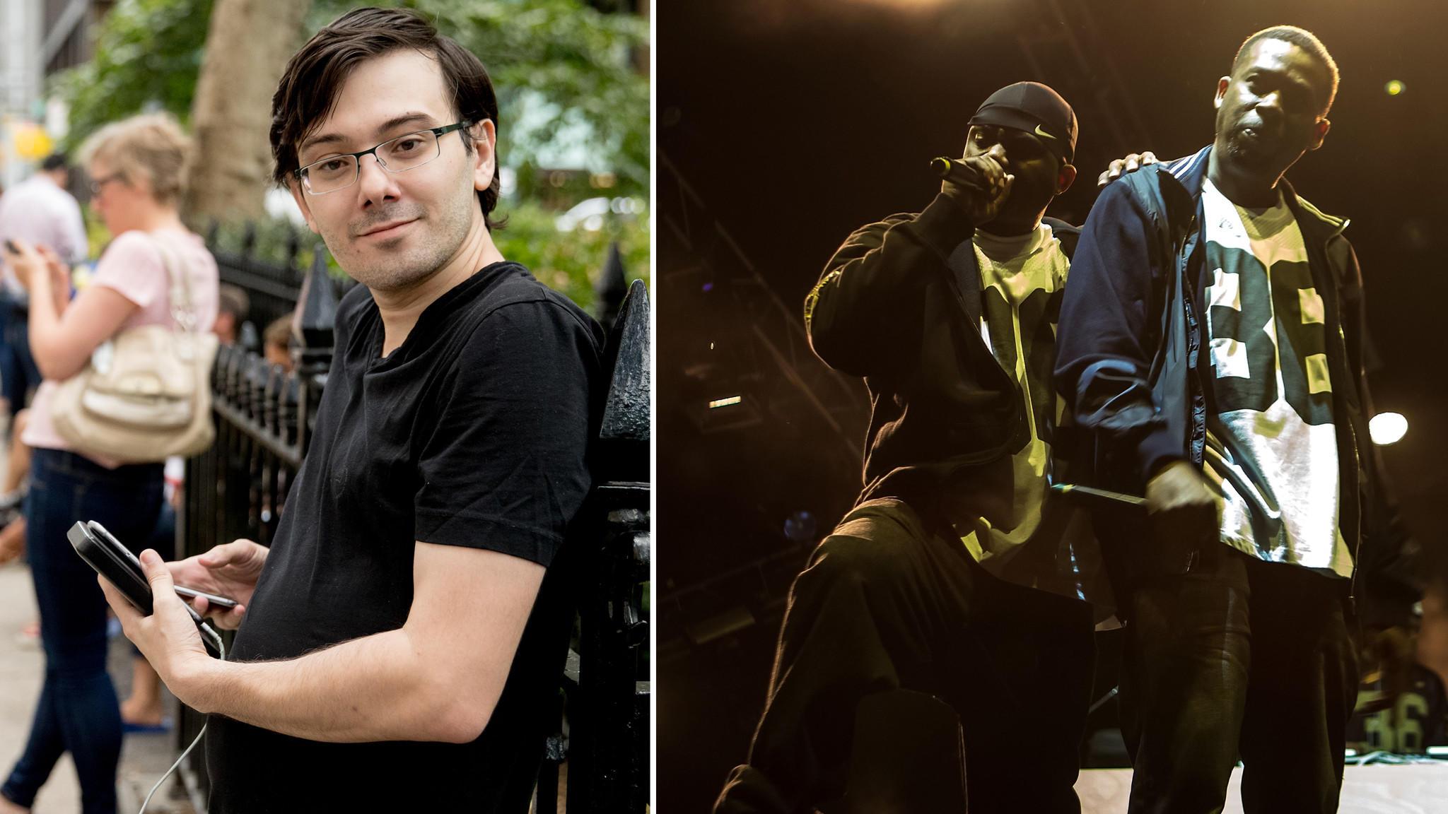 Martin Shkreli, left, and the Wu-Tang Clan. (Andrew Harnik / Associated Press; Suzi Pratt / FilmMagic)