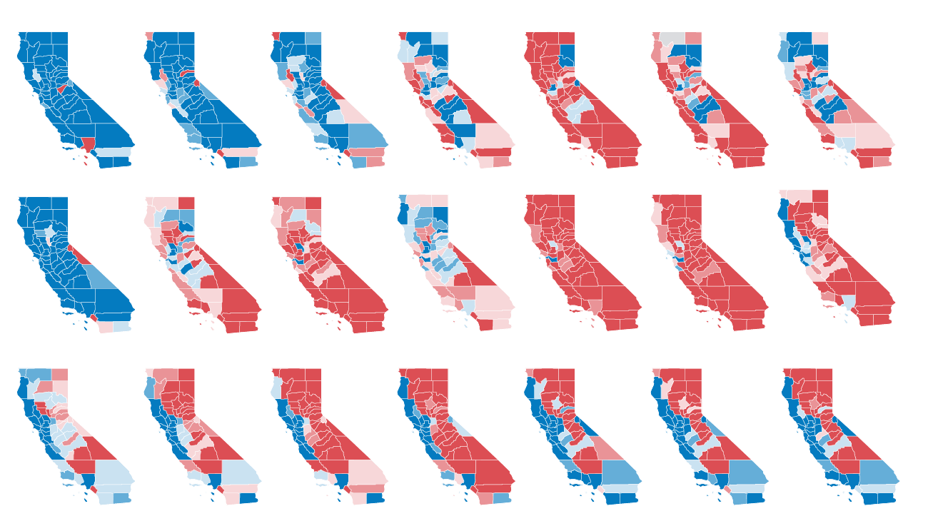 Map Of California Election Results.After Decades Of Republican Victories Here S How California Became