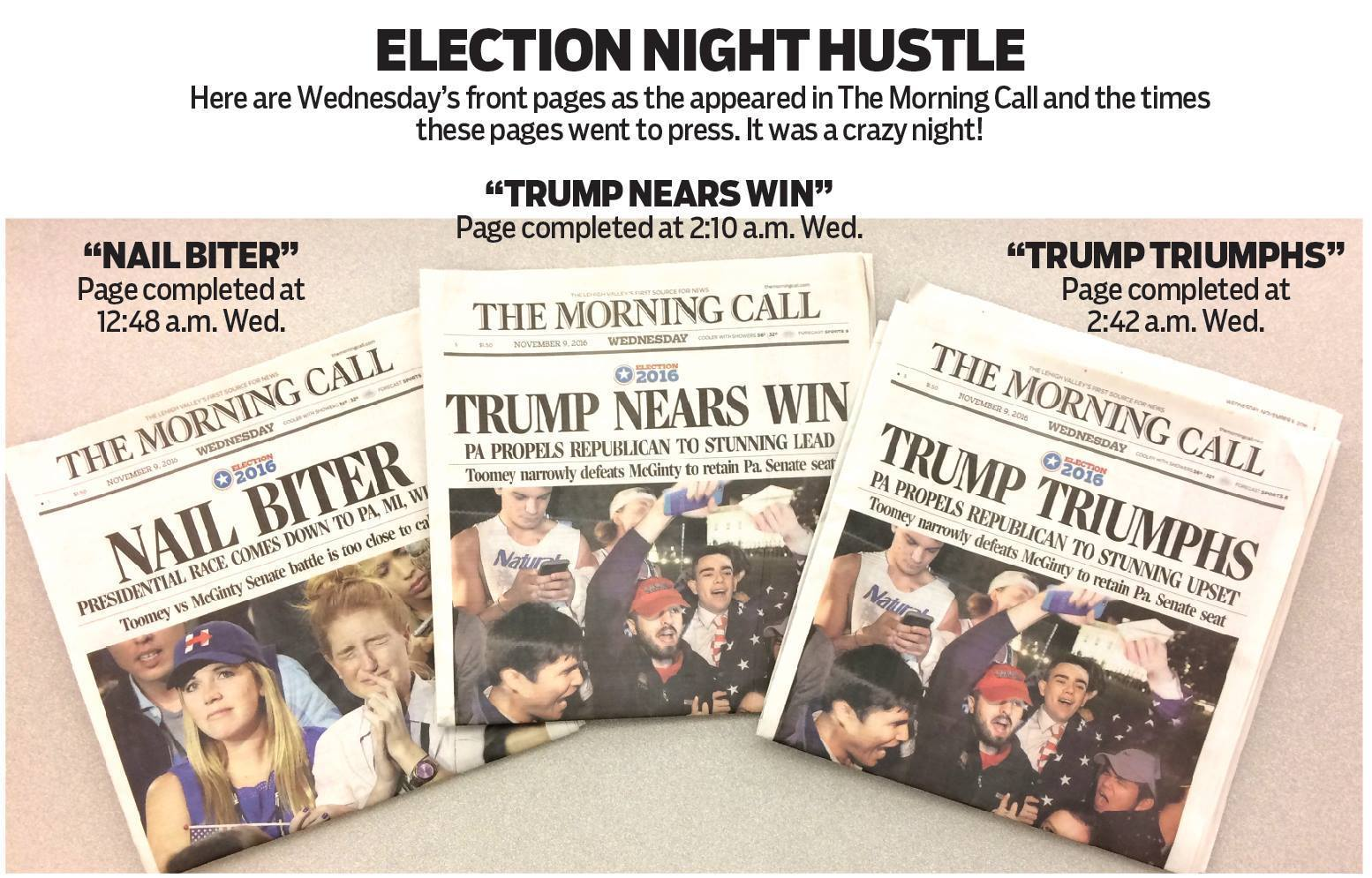 Three Morning Call editions born from late election ...