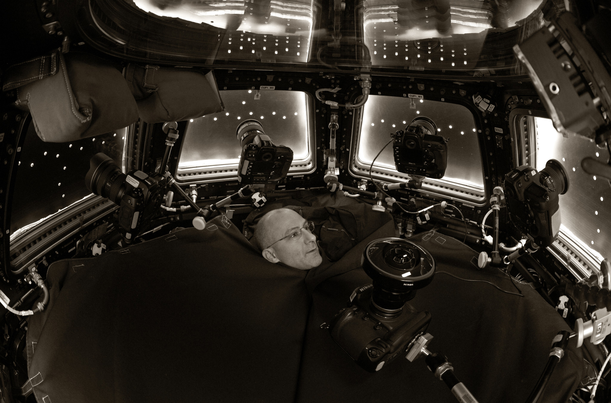 A Pettit self-portrait in the cupola of the International Space Station.