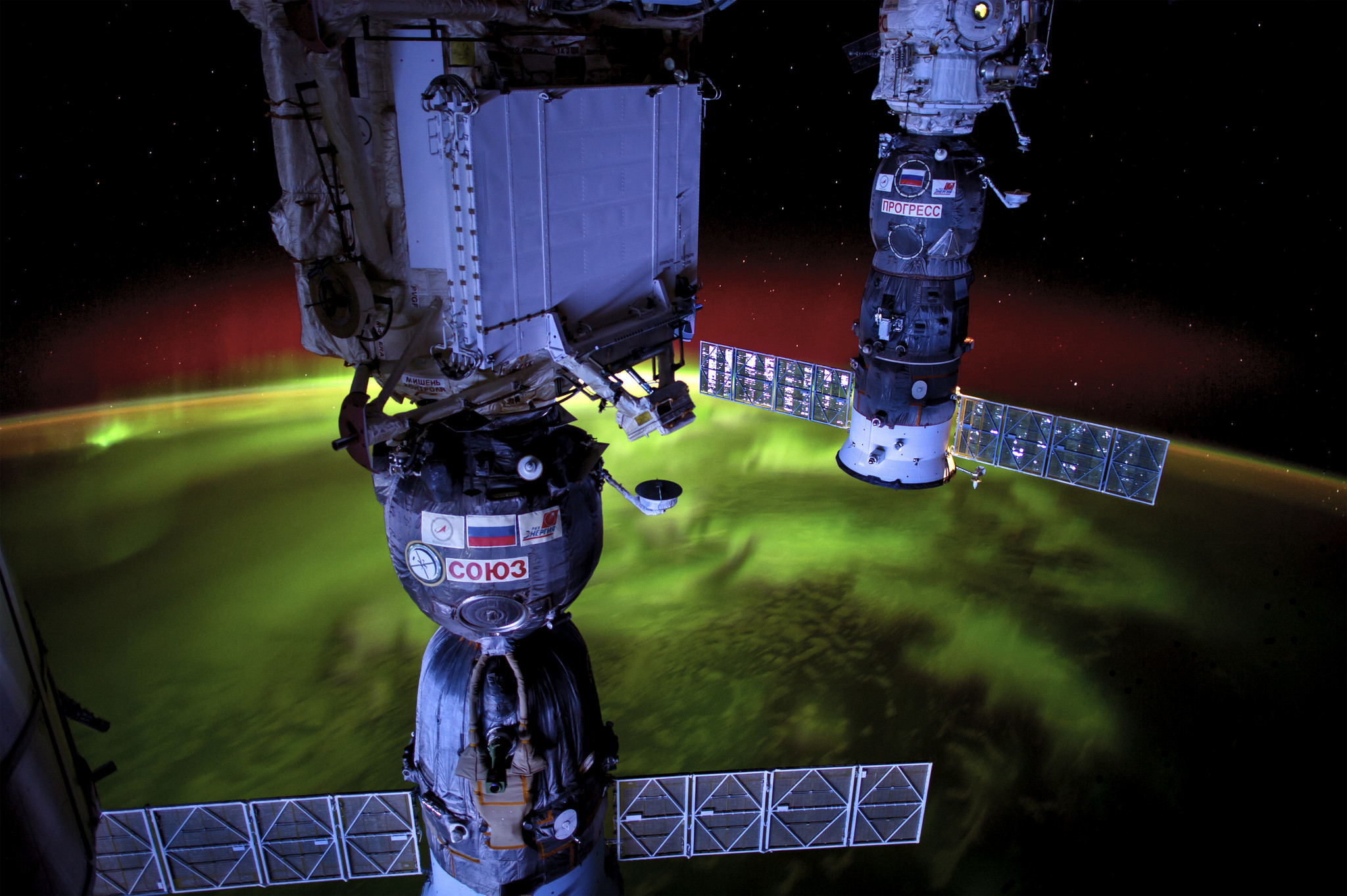 The aurora borealis seen from the International Space Station.