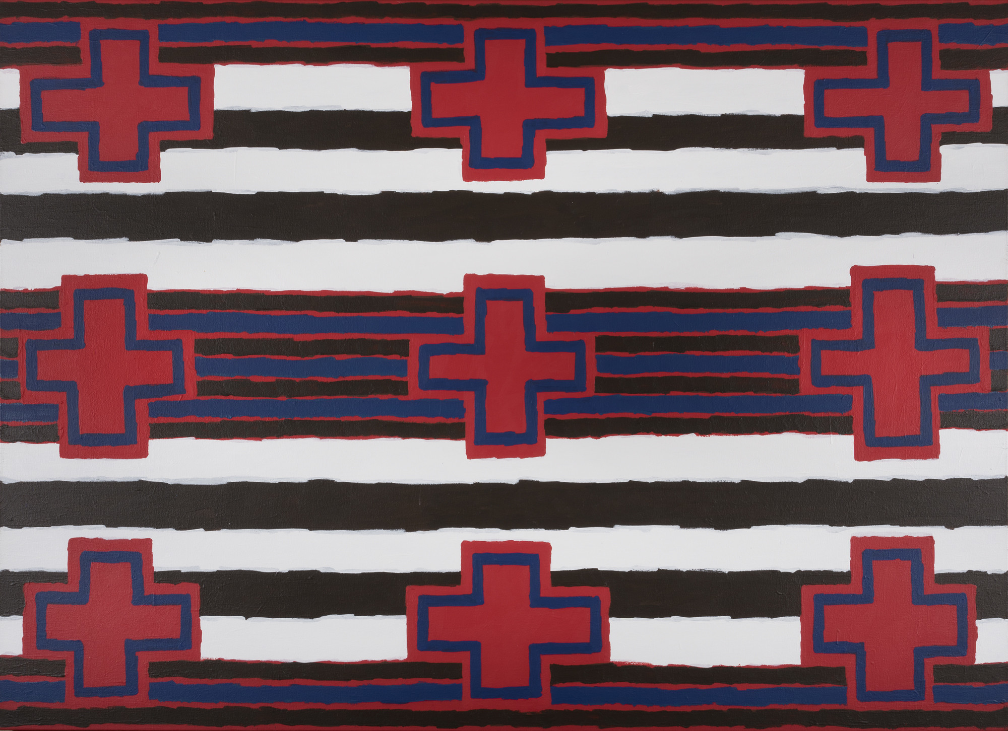 """Harry Fonseca's """"Chief's Blanket Second Phase (Variations on a Theme 8),"""" 2000. Acrylic on canvas."""