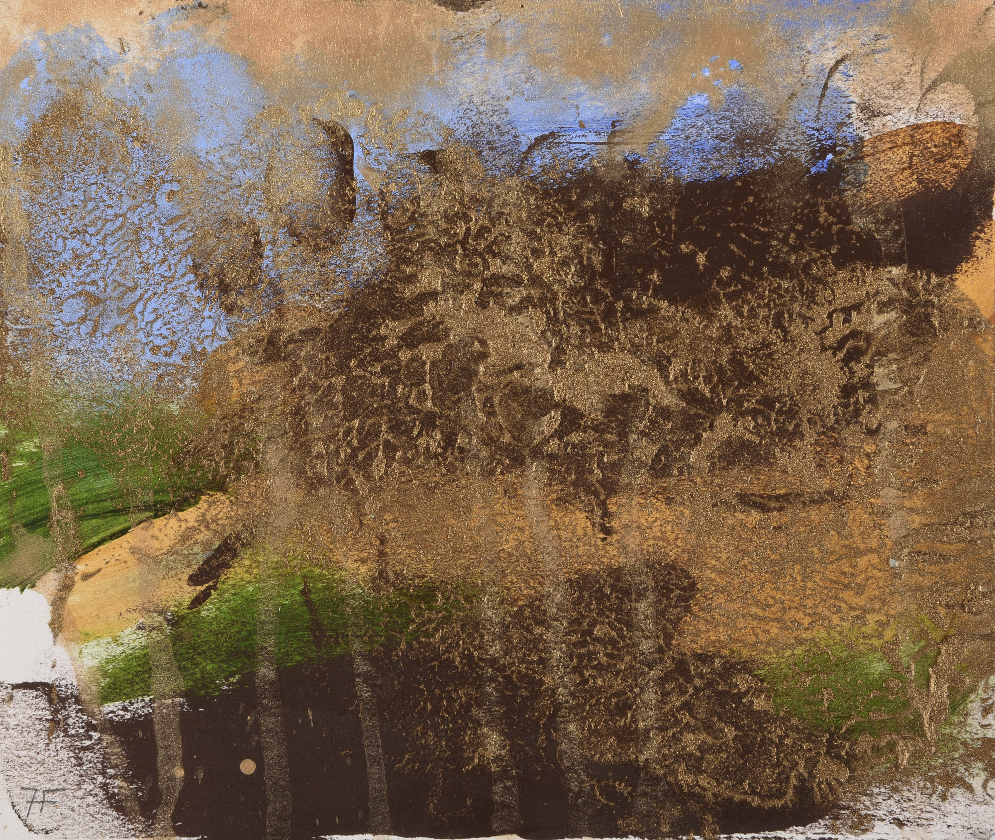 """Harry Fonseca's """"Untitled (Discovery of Gold series),"""" circa 1997. Mixed media on paper."""