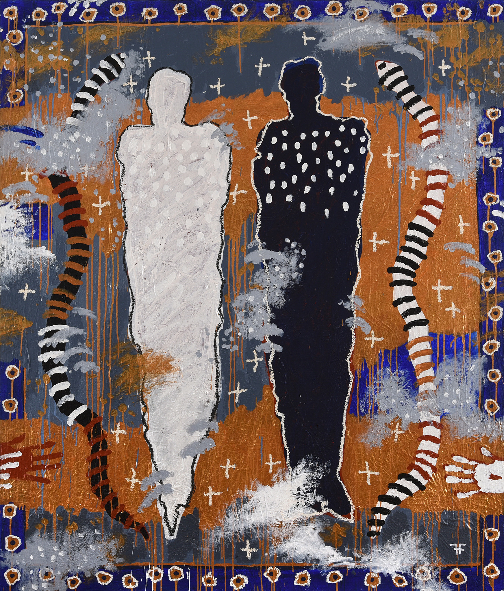"""Harry Fonseca's """"In the Silence of Dusk They Began to Shed Their Skin,"""" 1995. Mixed media on paper."""