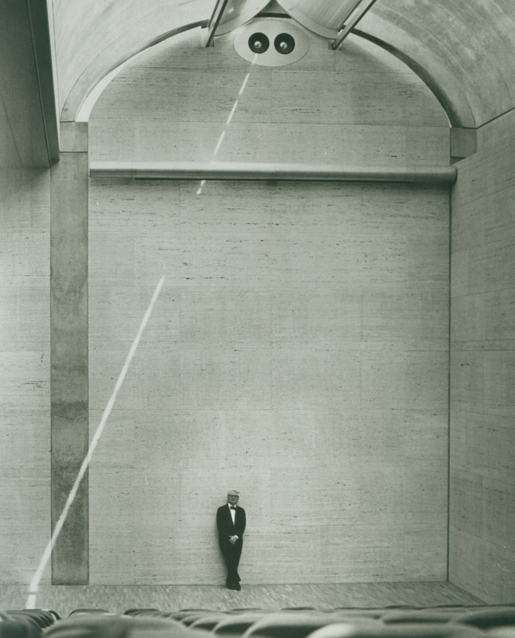 Louis Kahn in the auditorium of his 1972 Kimbell Art Museum in Fort Worth, Texas.