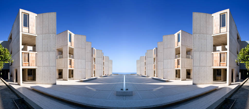 The Salk Institute in La Jolla, a scientific research lab designed by architect Louis Kahn for Jonas Salk, and completed in 1965.