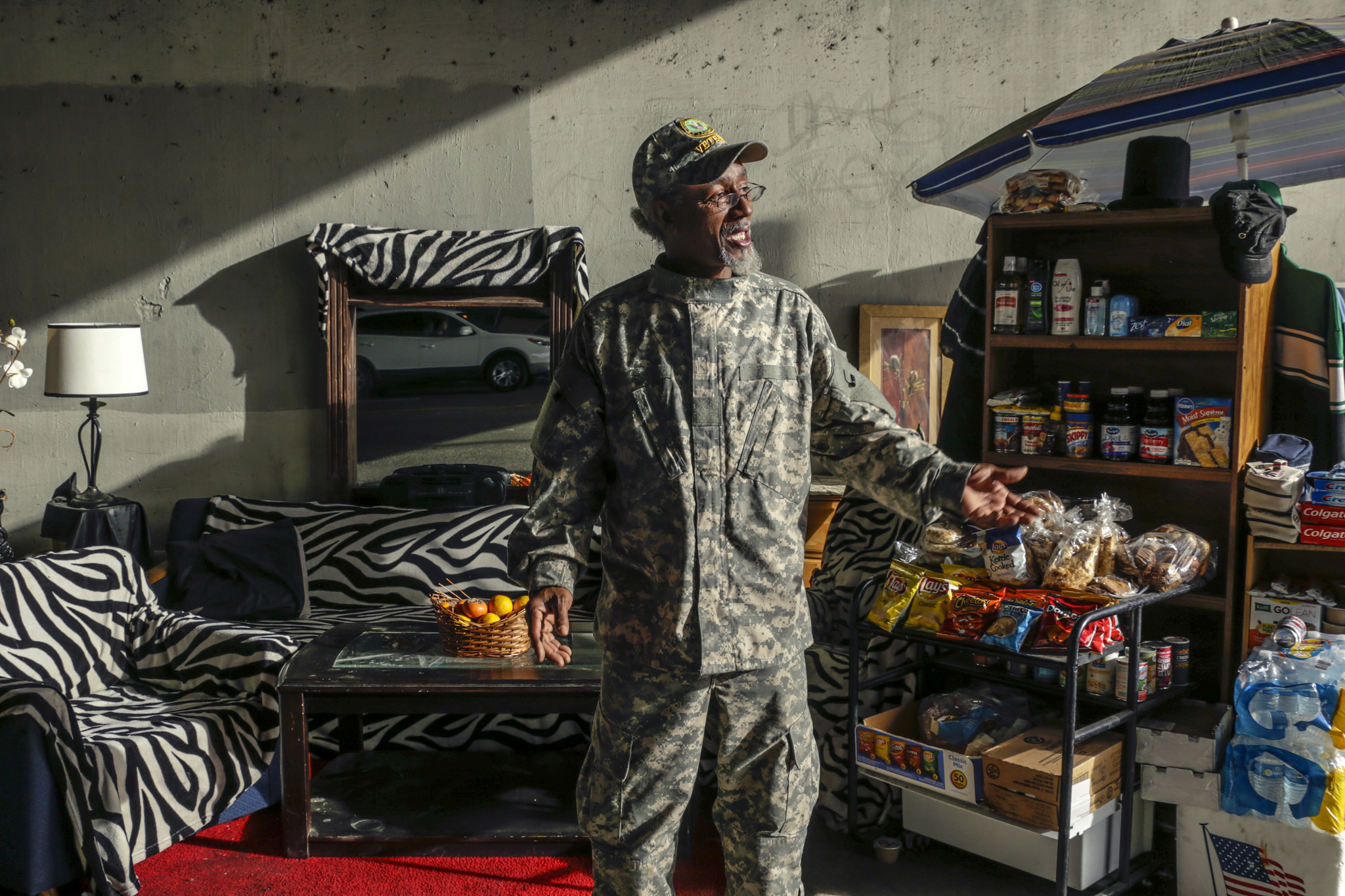 Standoff Beneath The 110 Freeway Homeless Man Builds A