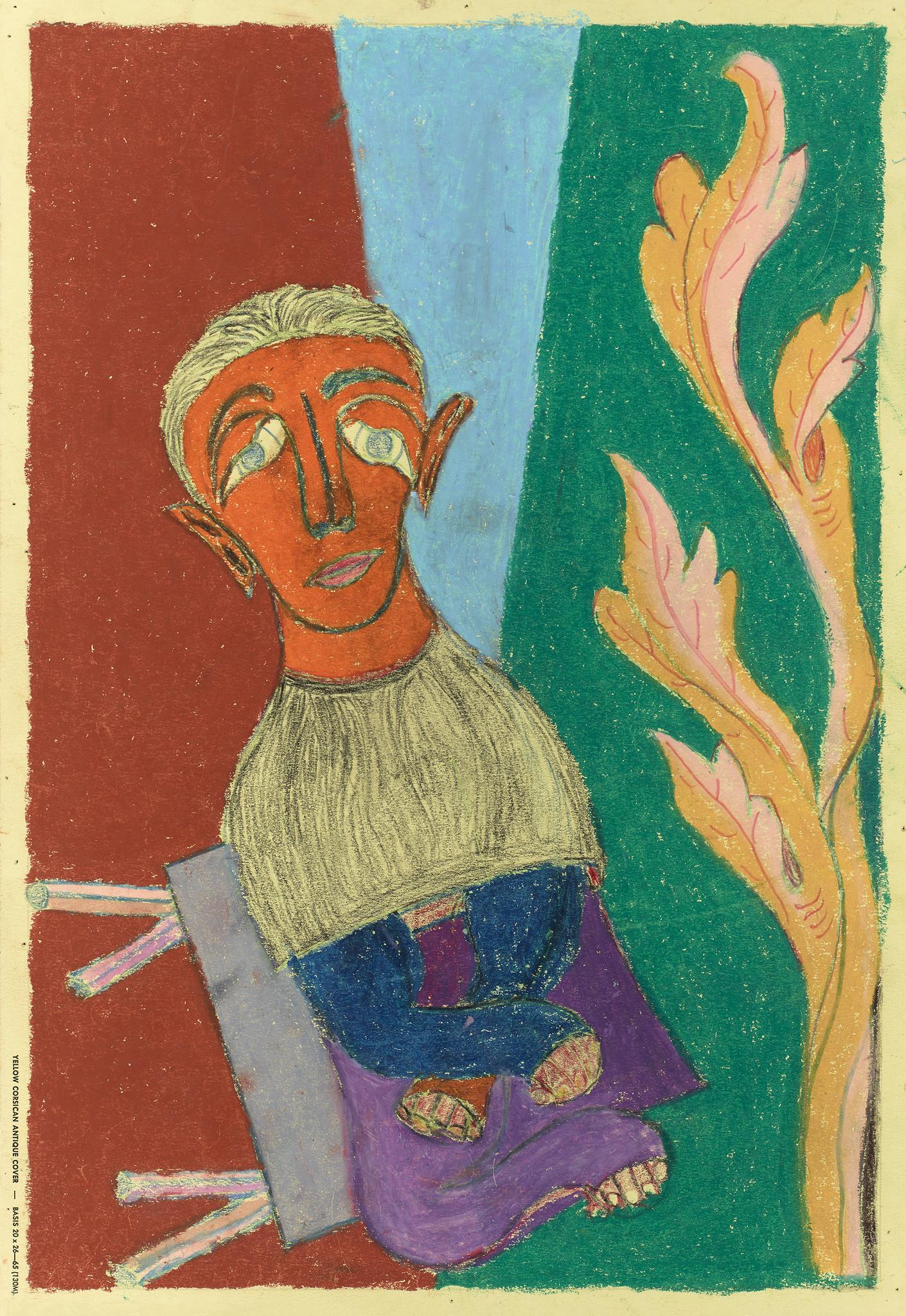 """Jacob Lehman's """"Untitled (Figure seated purple pants),"""" oil pastel on paper."""