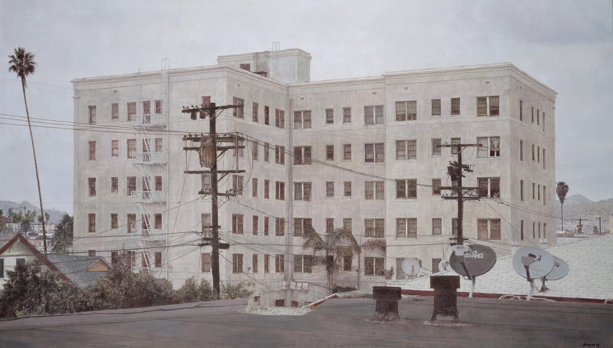 """""""Wilshire Center Building,"""" 2015, oil on linen."""