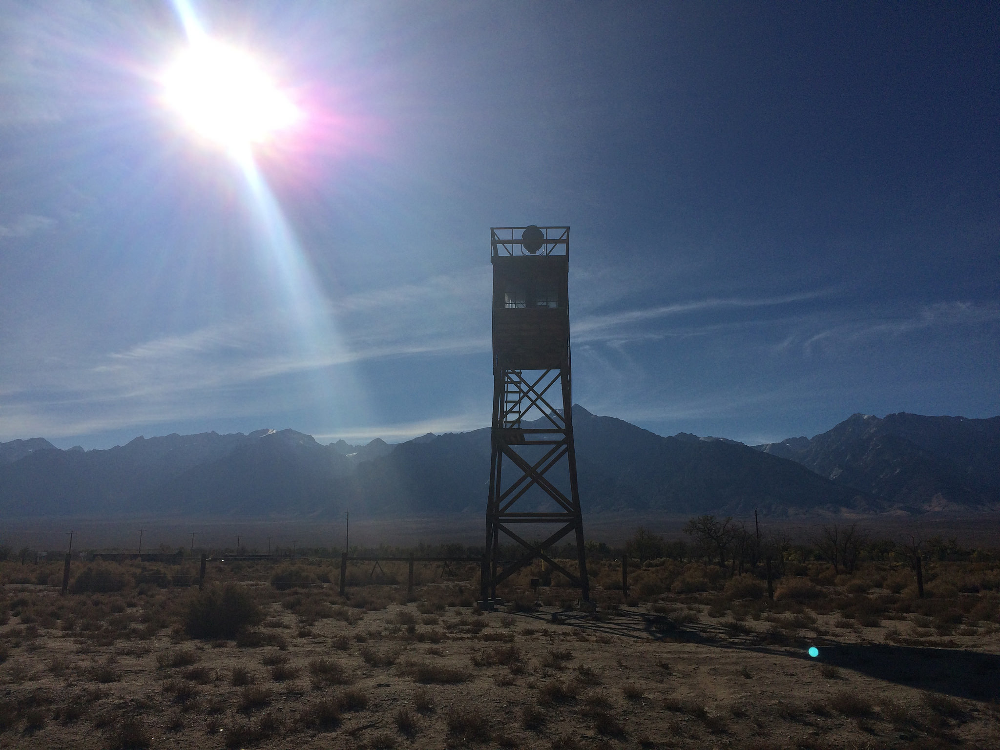 A reconstructed guard tower marks the entrance to Manzanar, the former Japanese American internment site in the Owens Valley.
