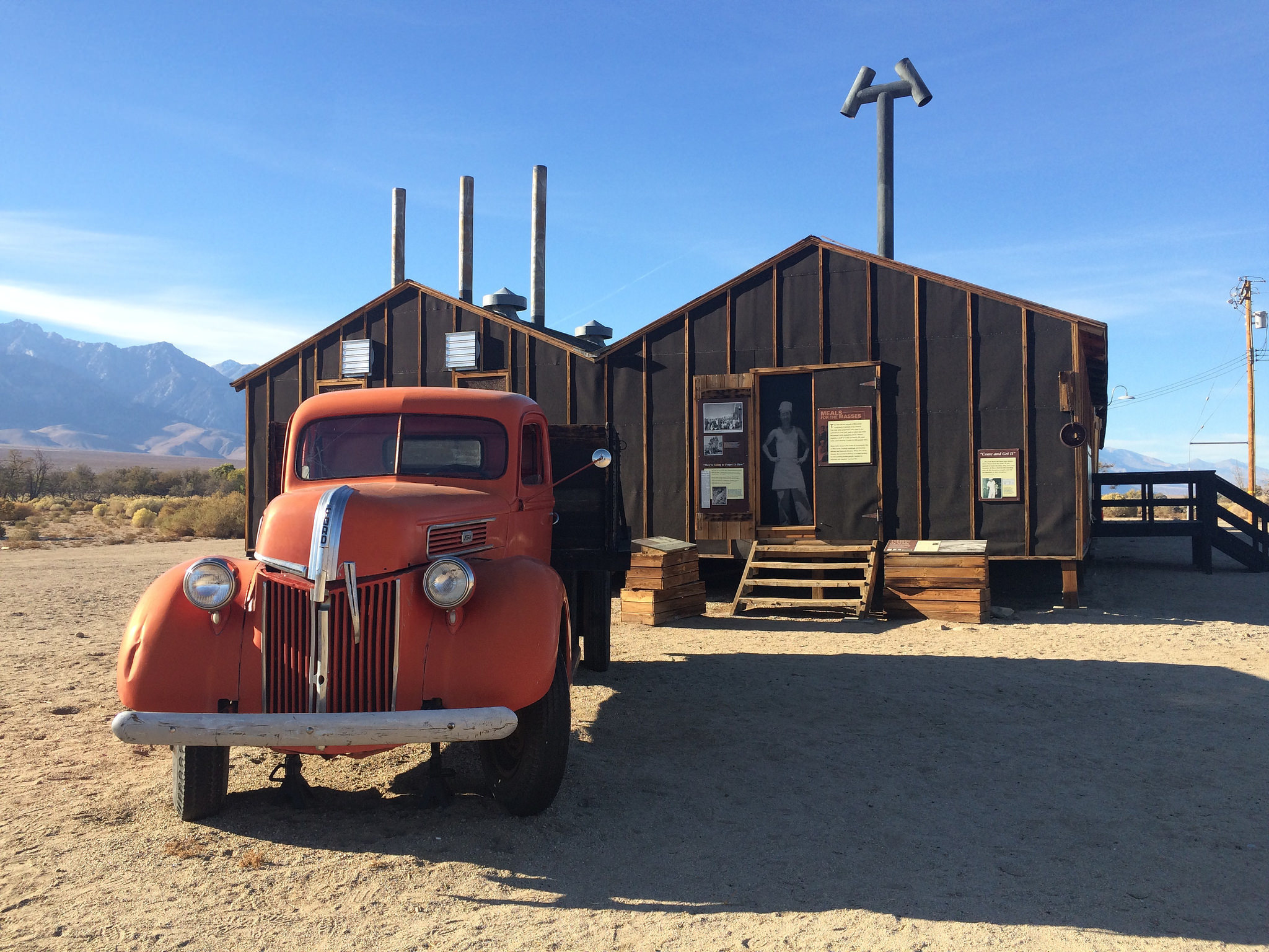 The reconstructed mess hall in a World War II-era building at Manzanar.