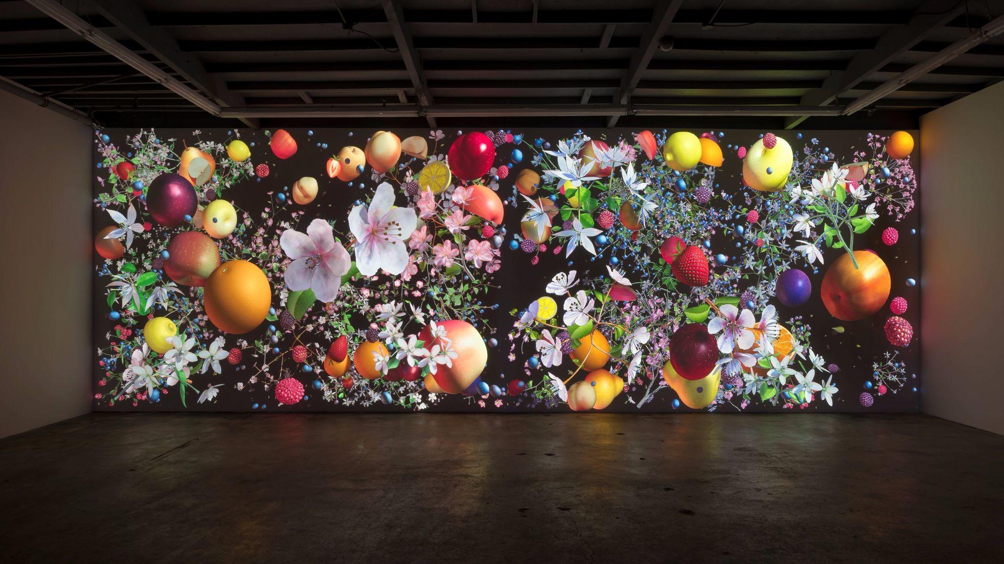 "Jennifer Steinkamp, ""Still-Life"" installation view, 2016, computer generated animation,"