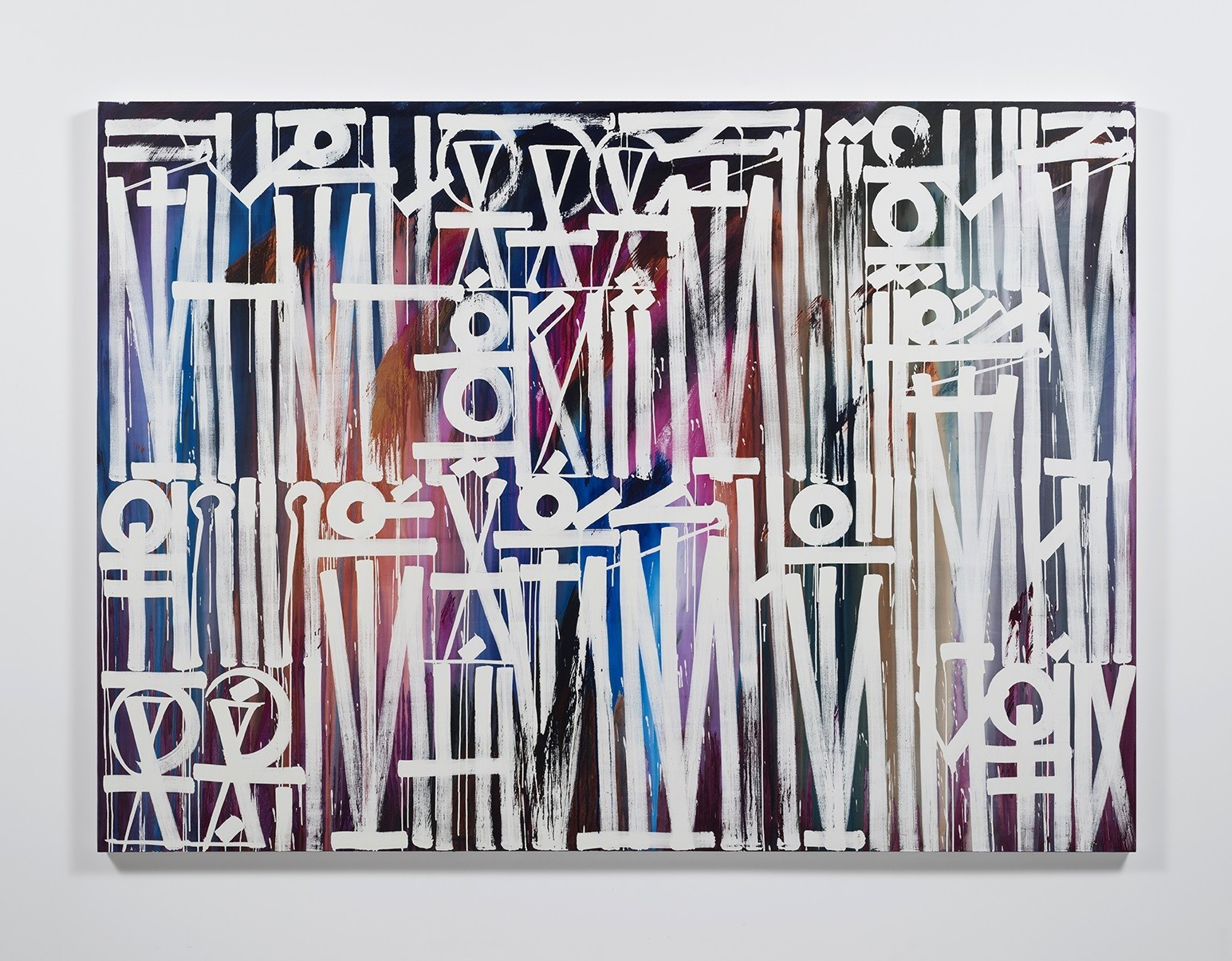 "Retna's ""She's Got a Slight Grip on My Eye,"" 2016, acrylic on canvas, 78 inches by 108 inches."