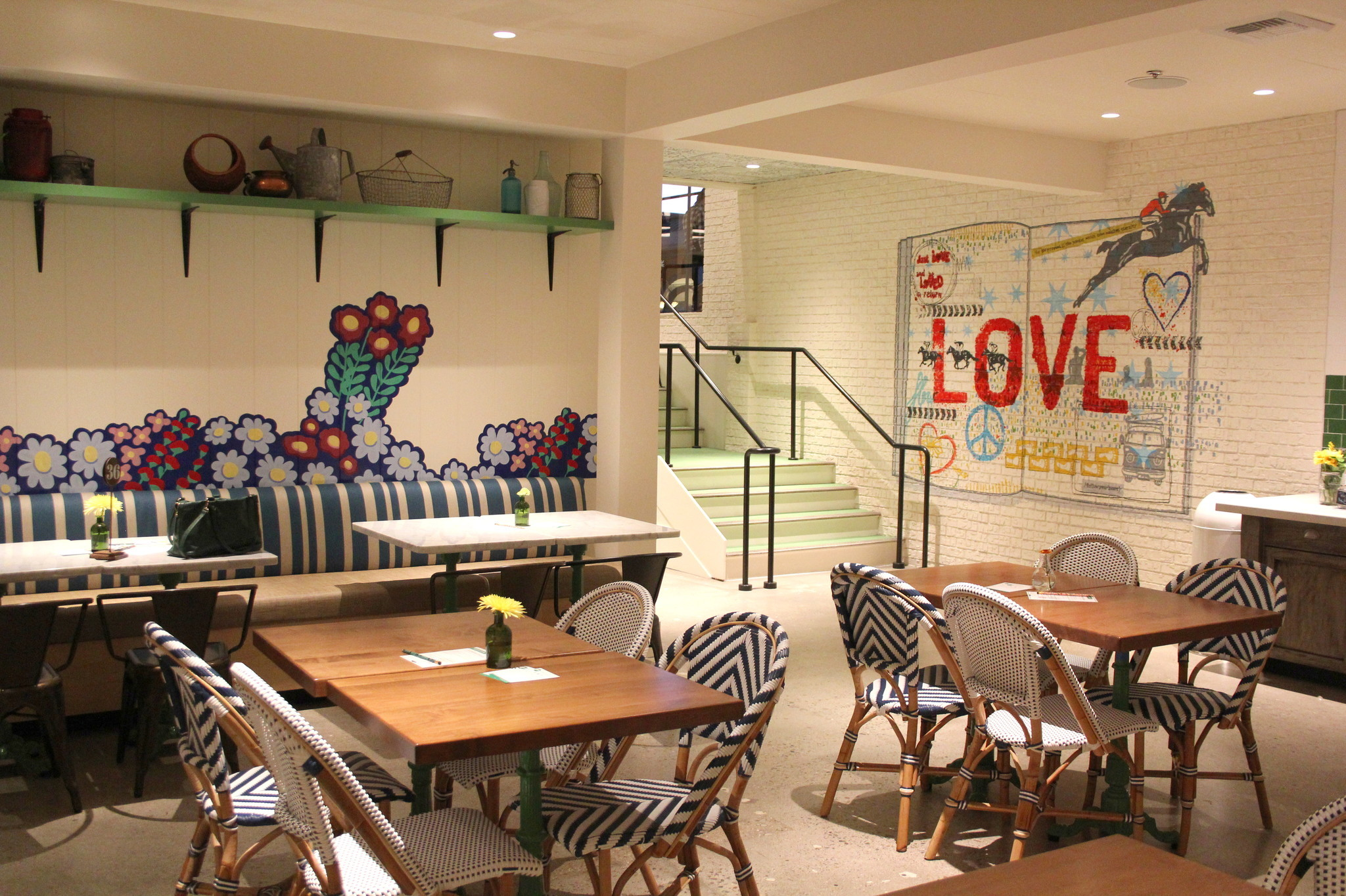 The lower dining room at Flower Child.
