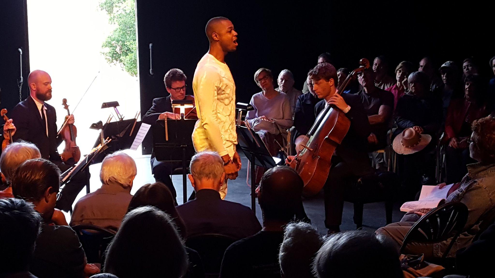 Davone Tines singing with the Calder Quartet at the Ojai festival.