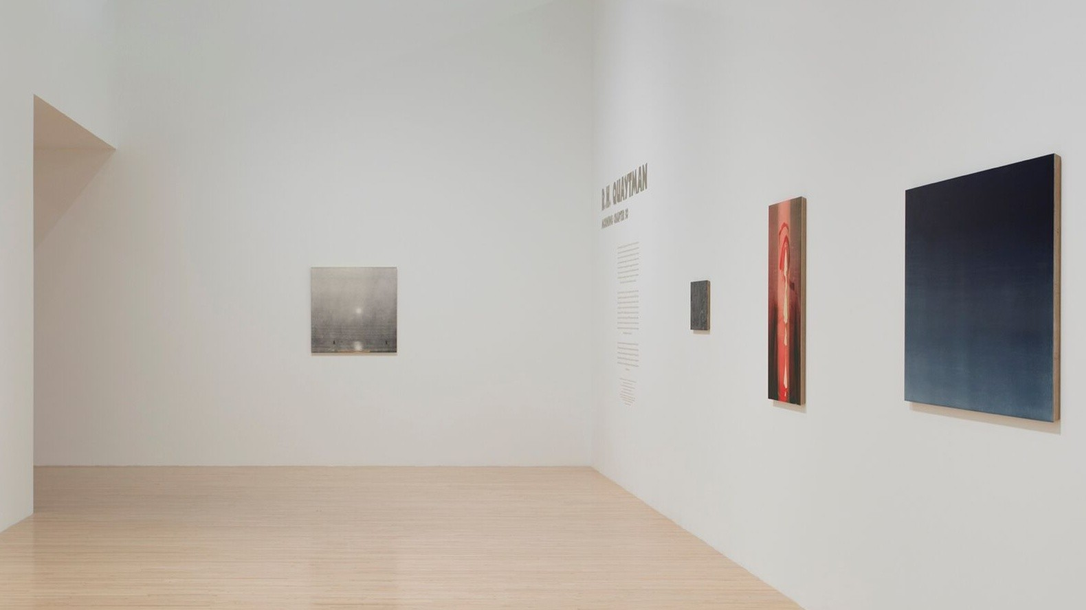 As with the grayish silkscreen picture showing the sun over water at the show's entrance, Quaytman paints on plywood panels with beveled edges.