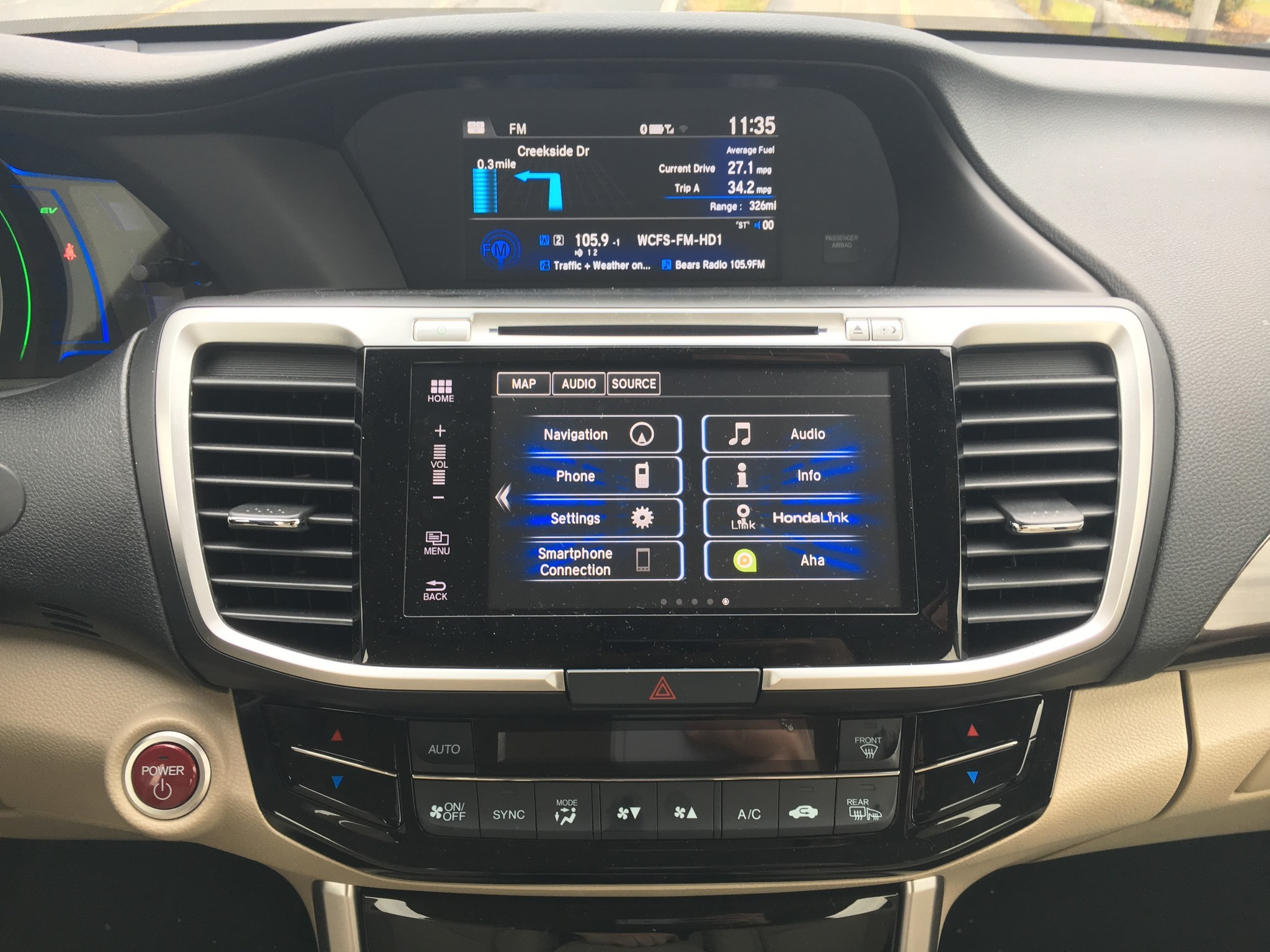 2017 Honda Accord Hybrid There Are Two Screens In The Center Of New 7 Inch Touch Screen At Top Stack Handles Audio