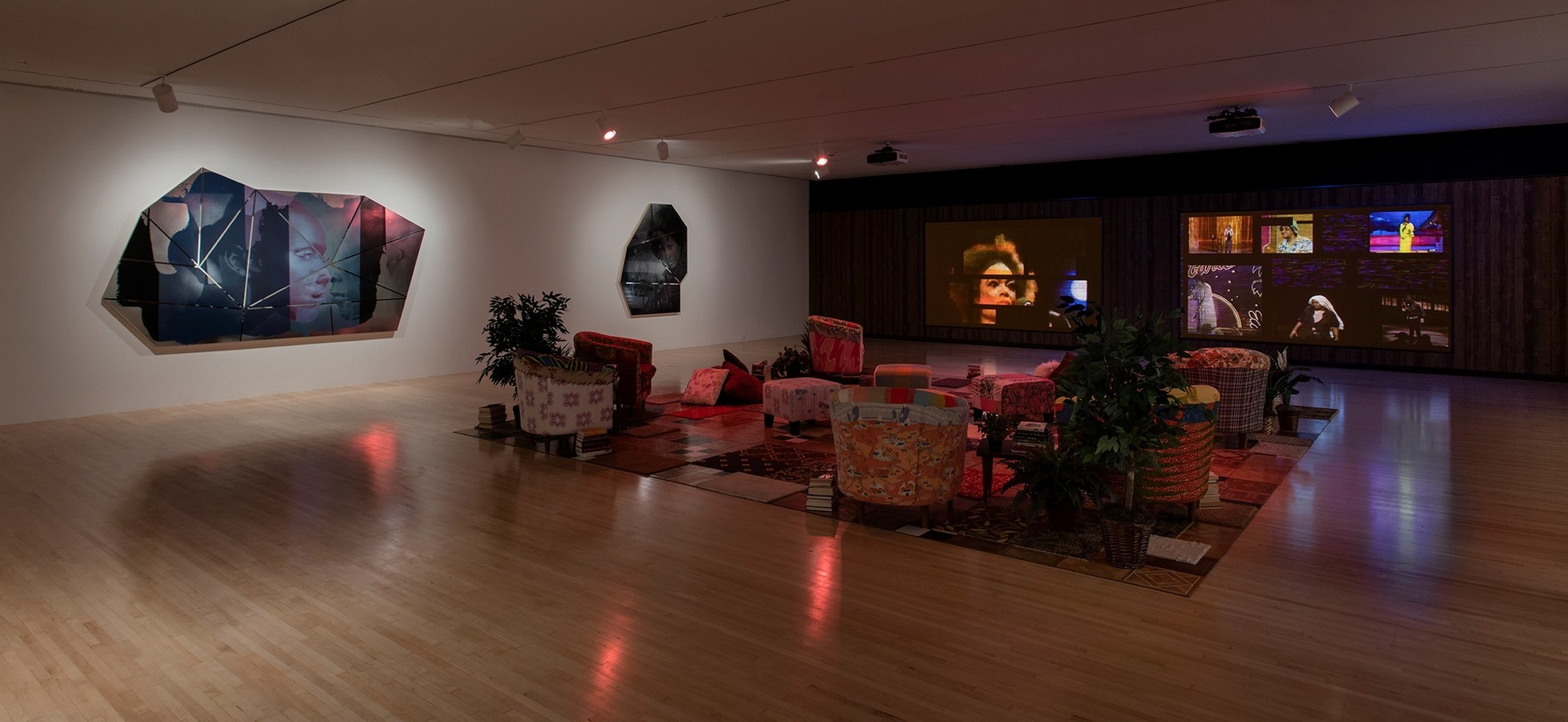"Installation view of ""Mickalene Thomas: Do I Look Like a Lady?"" at MOCA."