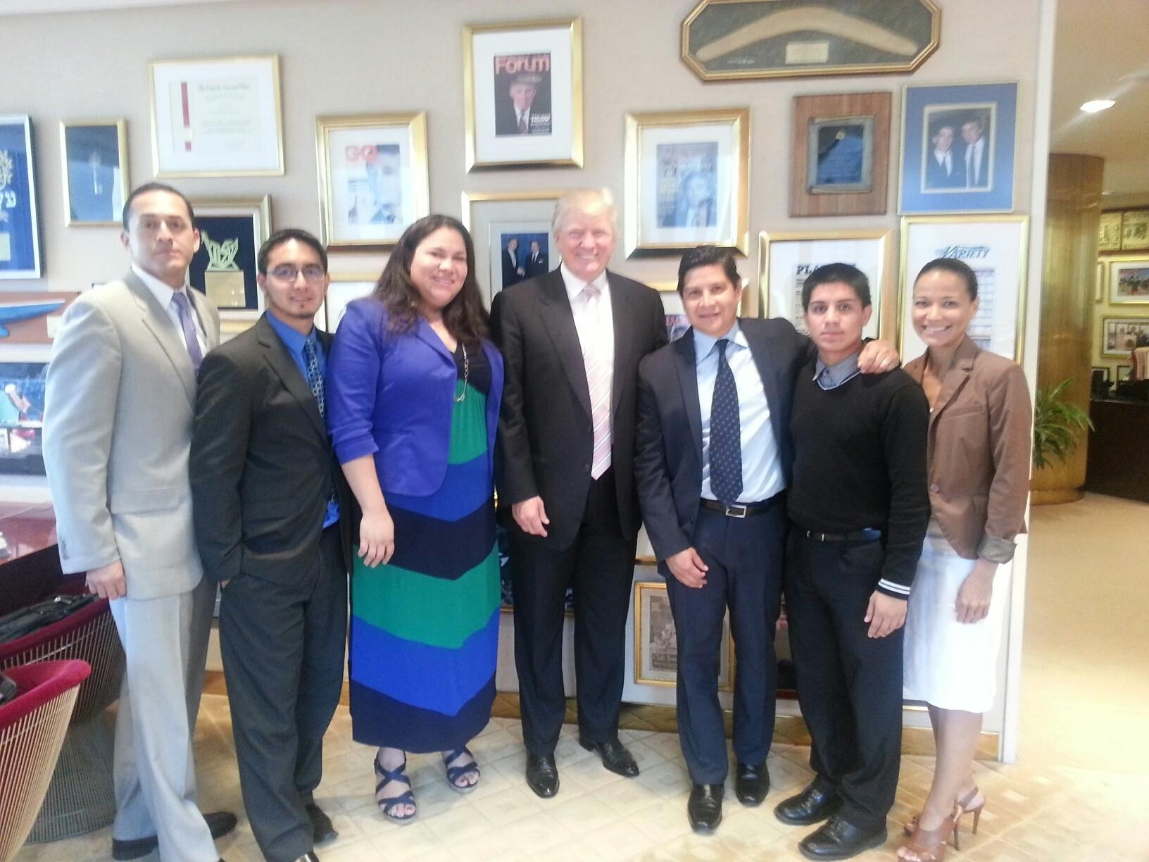 """A group of """"Dreamers"""" with Donald Trump at Trump Tower in New York in 2013. (Diego Sanchez)"""