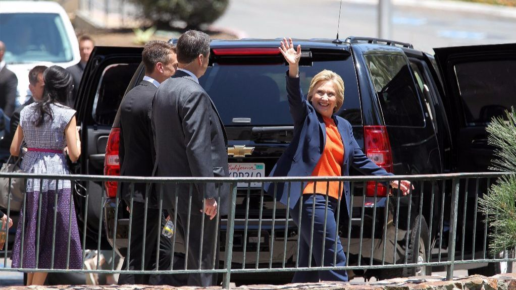 Former Secretary of State and Presidential candiate Hillary Clinton came to San Diego as she returned to the state to campaign less than a week before California votes in the primary elections.