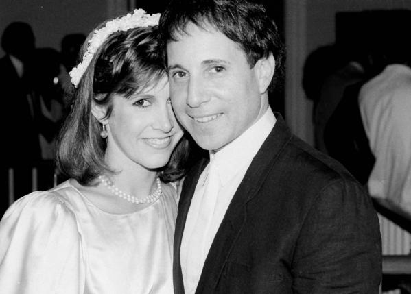 Carrie Fisher, then 26, and Paul Simon, 41, in 1983 after being wed in a private ceremony. (Mario Suriani / Associated Press)
