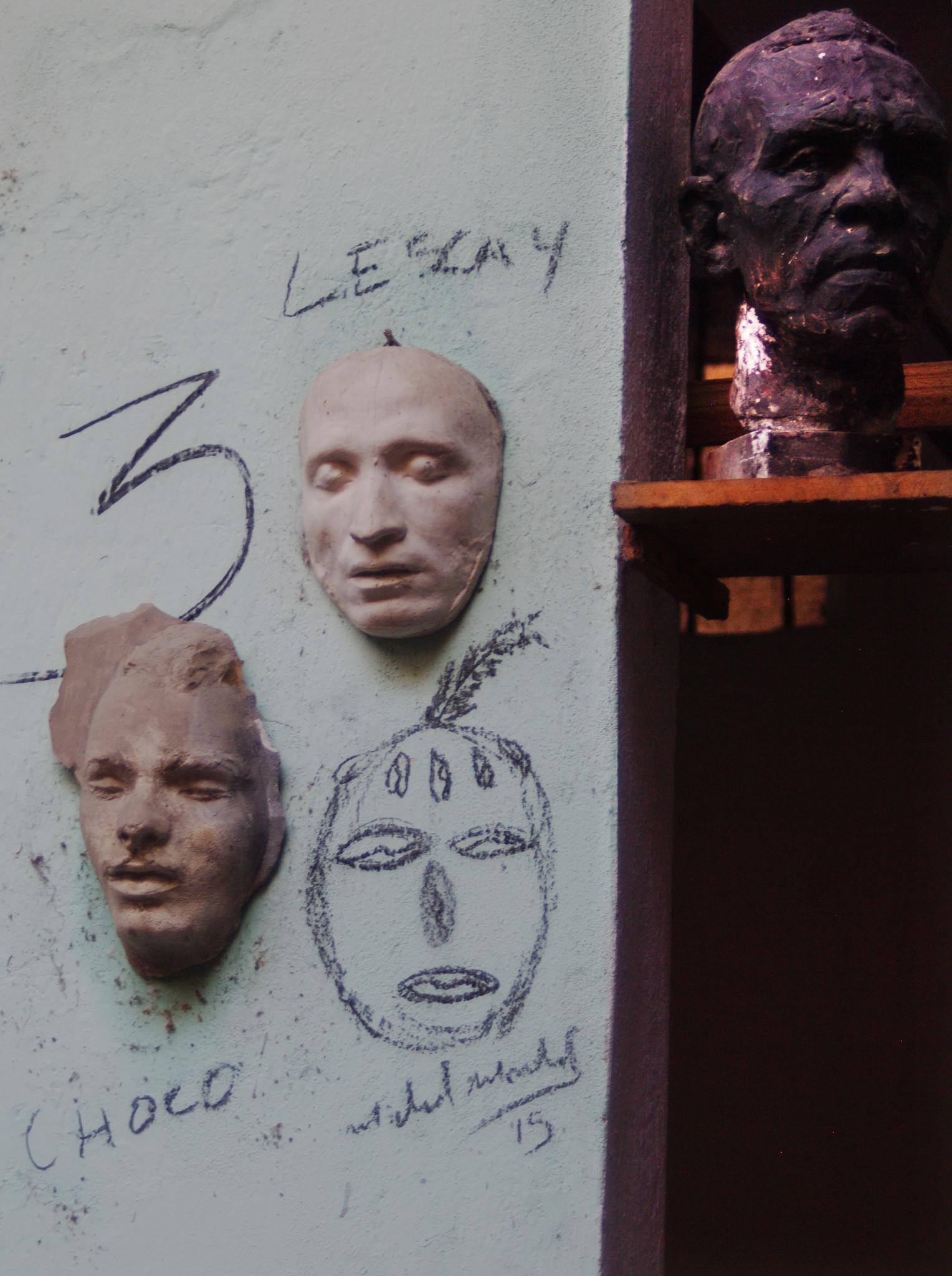 Sculptures at the workshop of Cuban artist Alberto Lescay.