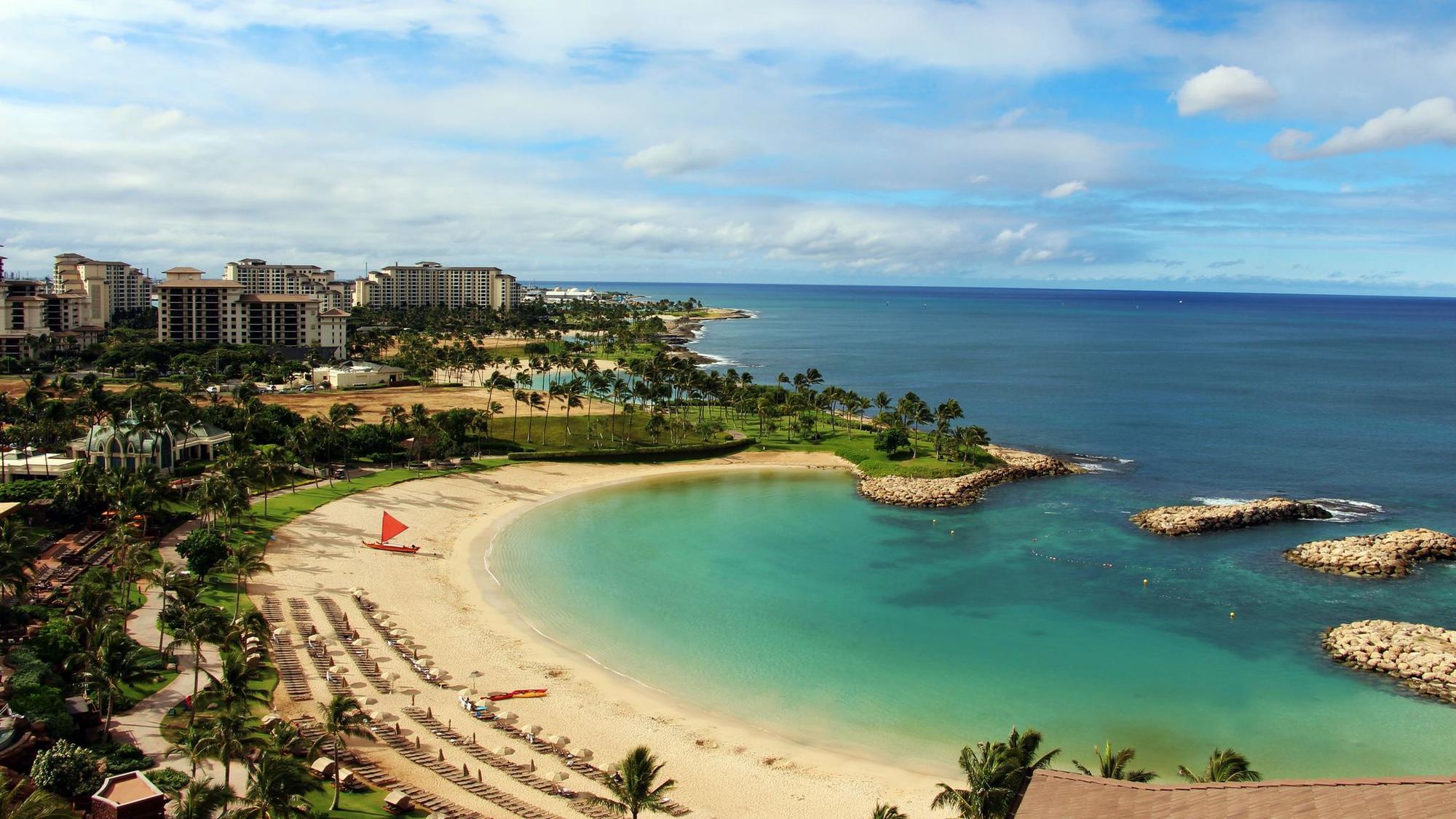 View of Ko Olina beach and the Kohola lagoon from the hotel room, Oahu, Hawaii.