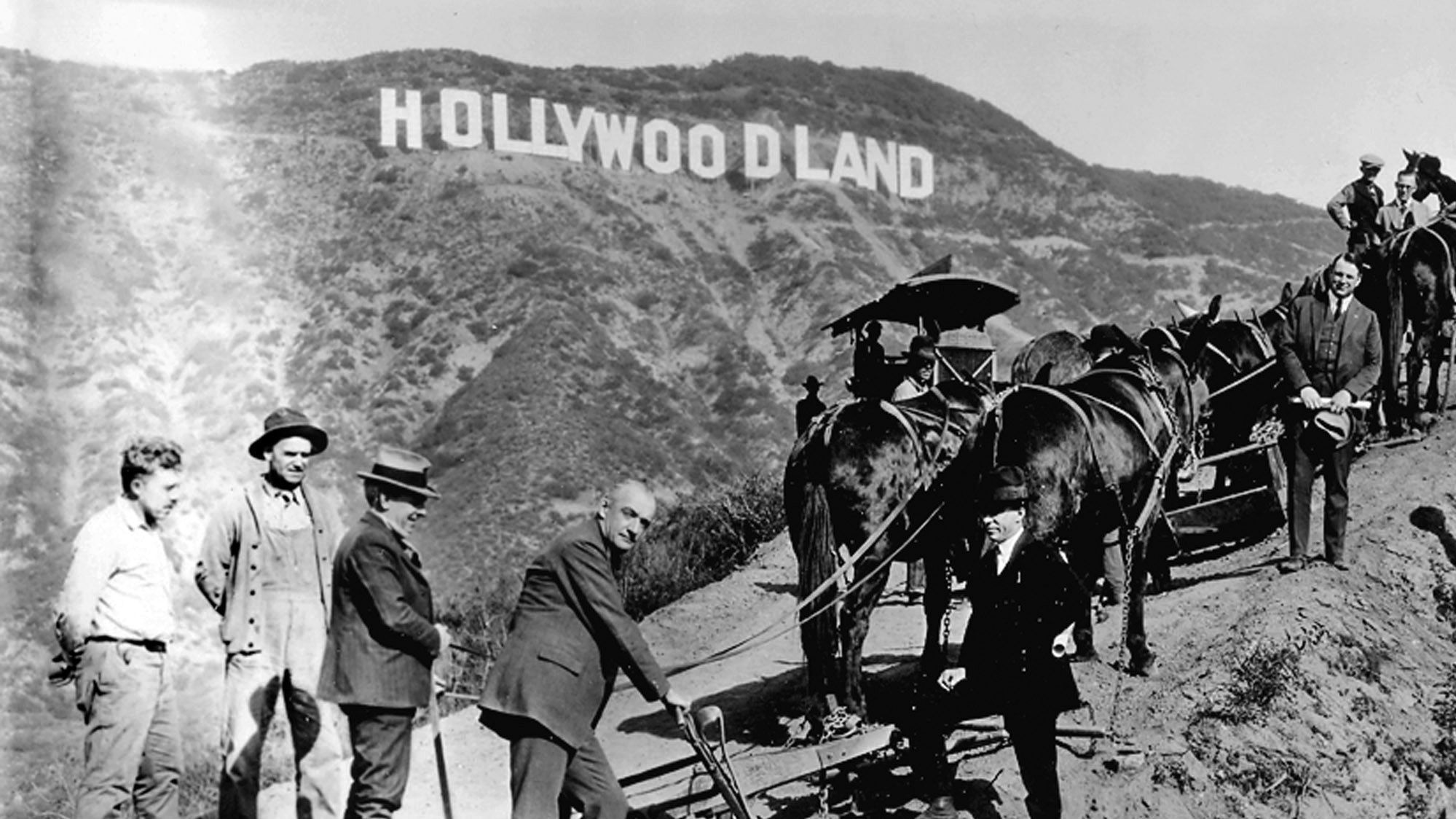 A 1929 publicity photo for the Hollywoodland groundbreaking shows a plow, mules and surveyors.