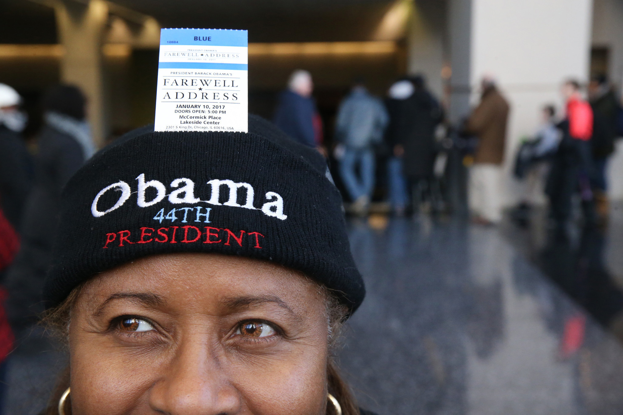 4583534a18 Crowd full of hope lines up in bitter cold for tickets to Obama farewell  speech