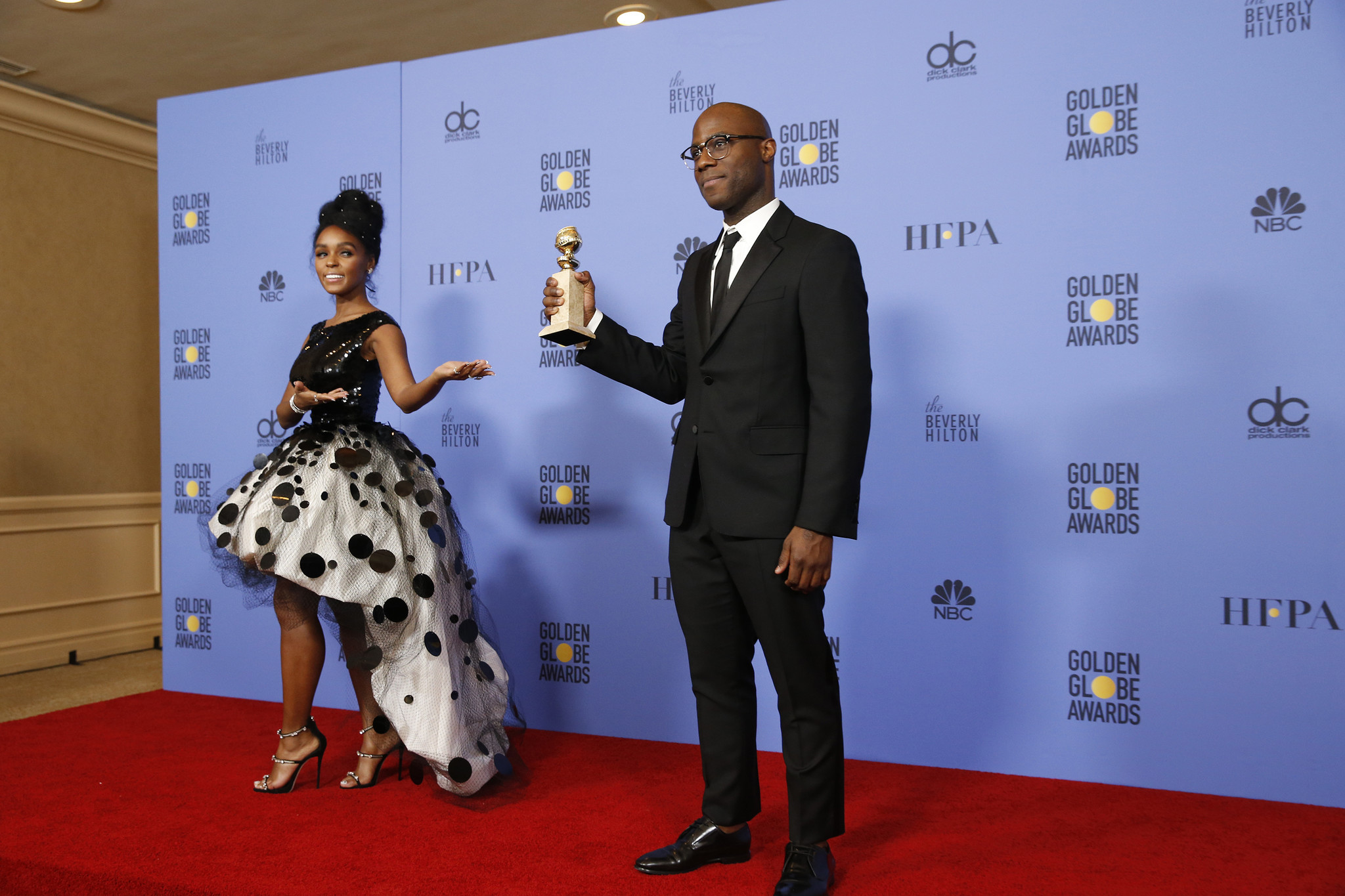 """Janelle Monae and writer-director Barry Jenkins of """"Moonlight"""" at the Golden Globes. (Allen J. Schaben / Los Angeles Times)"""