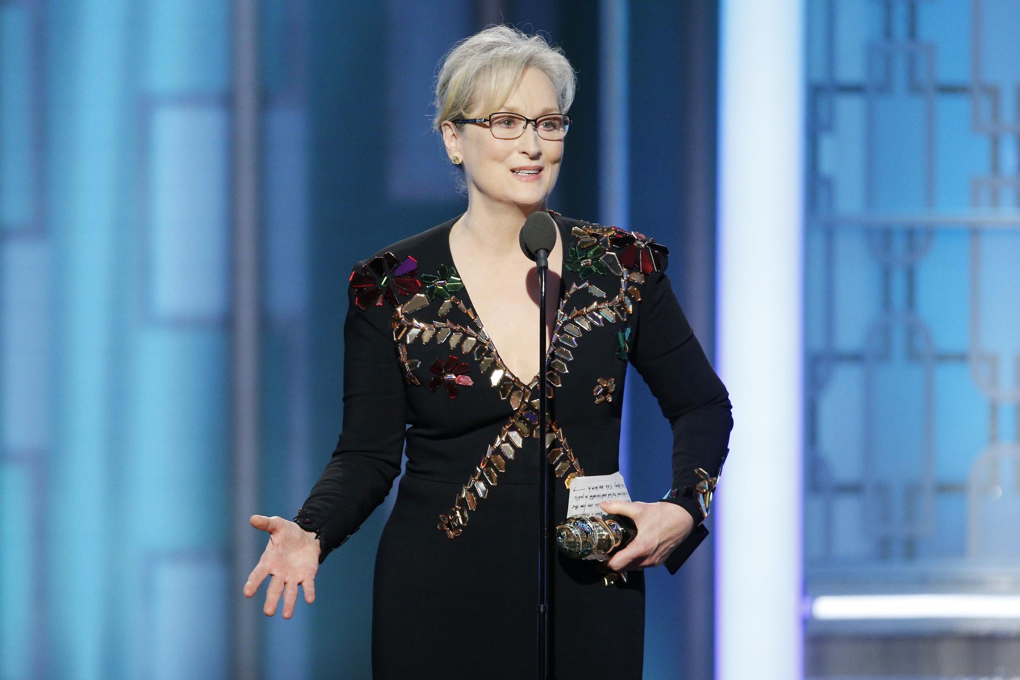 b09980fb3baa6 Meryl Streep accepts the Cecil B. DeMille Lifetime Achievement Award on  Jan. 8 at