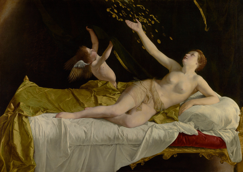 """Orazio Gentileschi, """"Danae,"""" 1621-23, oil on canvas"""
