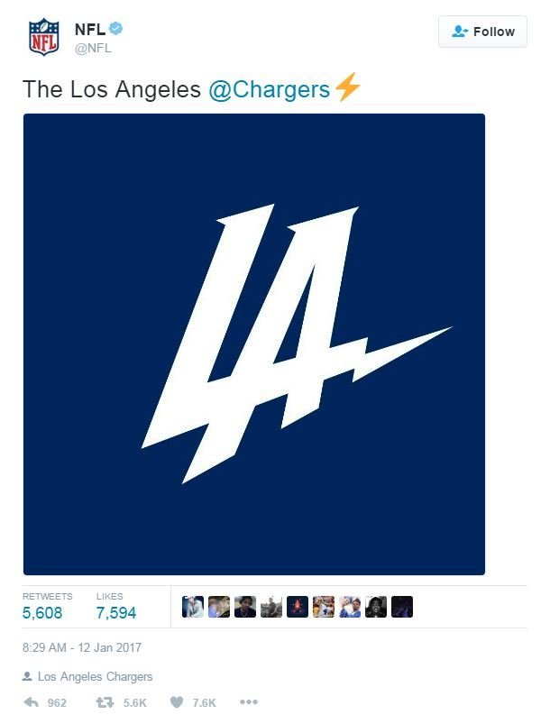 A (since deleted) tweet from the NFL with the logo released by the Chargers Thursday.