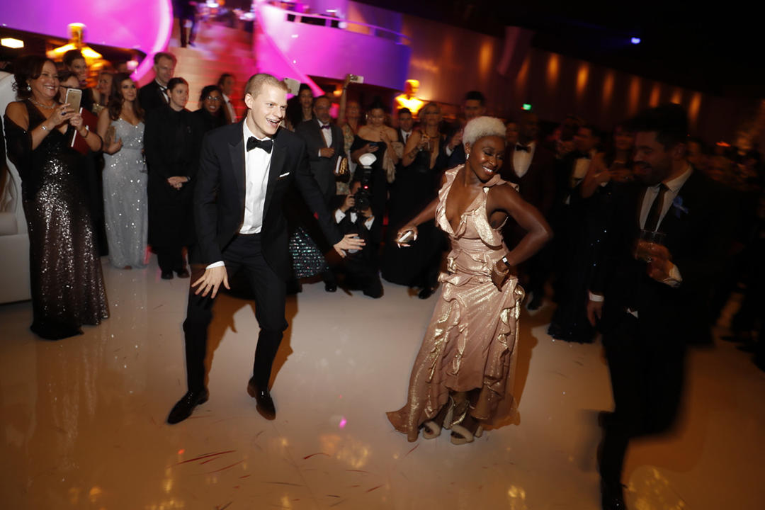 Lucas Hedges and Cynthia Erivo get down at the 89th Academy Awards Governors Ball.