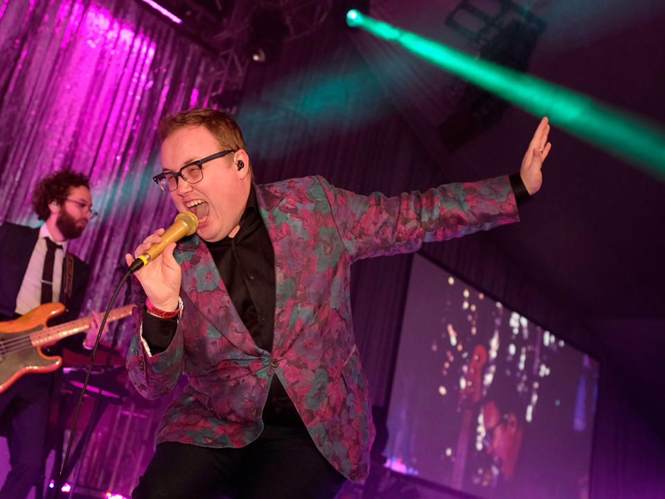 Paul Janeway of St. Paul and the Broken Bones performs at the Elton John AIDS Foundation Academy Awards Viewing Party