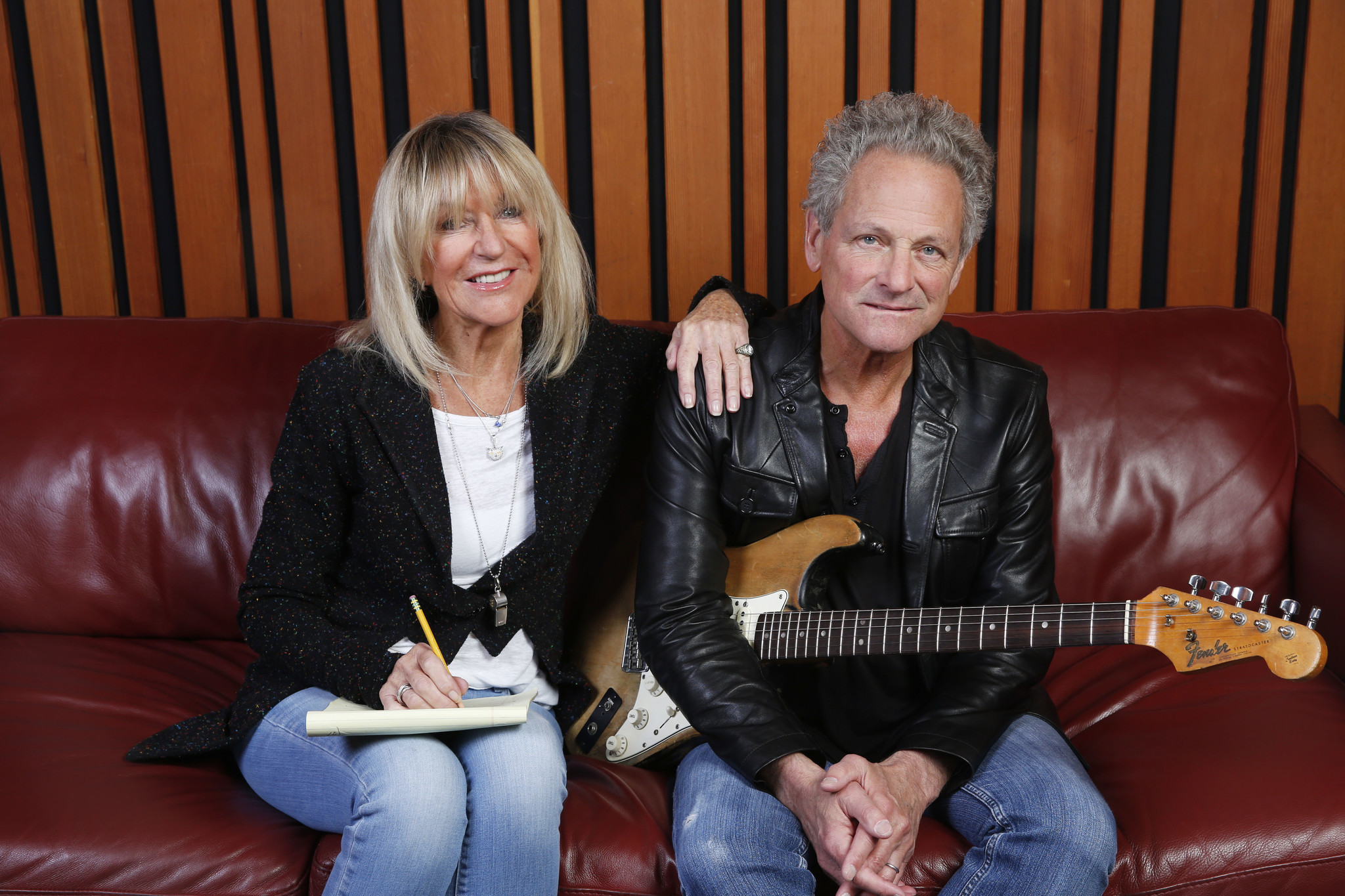 Christine McVie and Lindsey Buckingham between recording sessions at West L.A.'s Village Studios in December 2016.