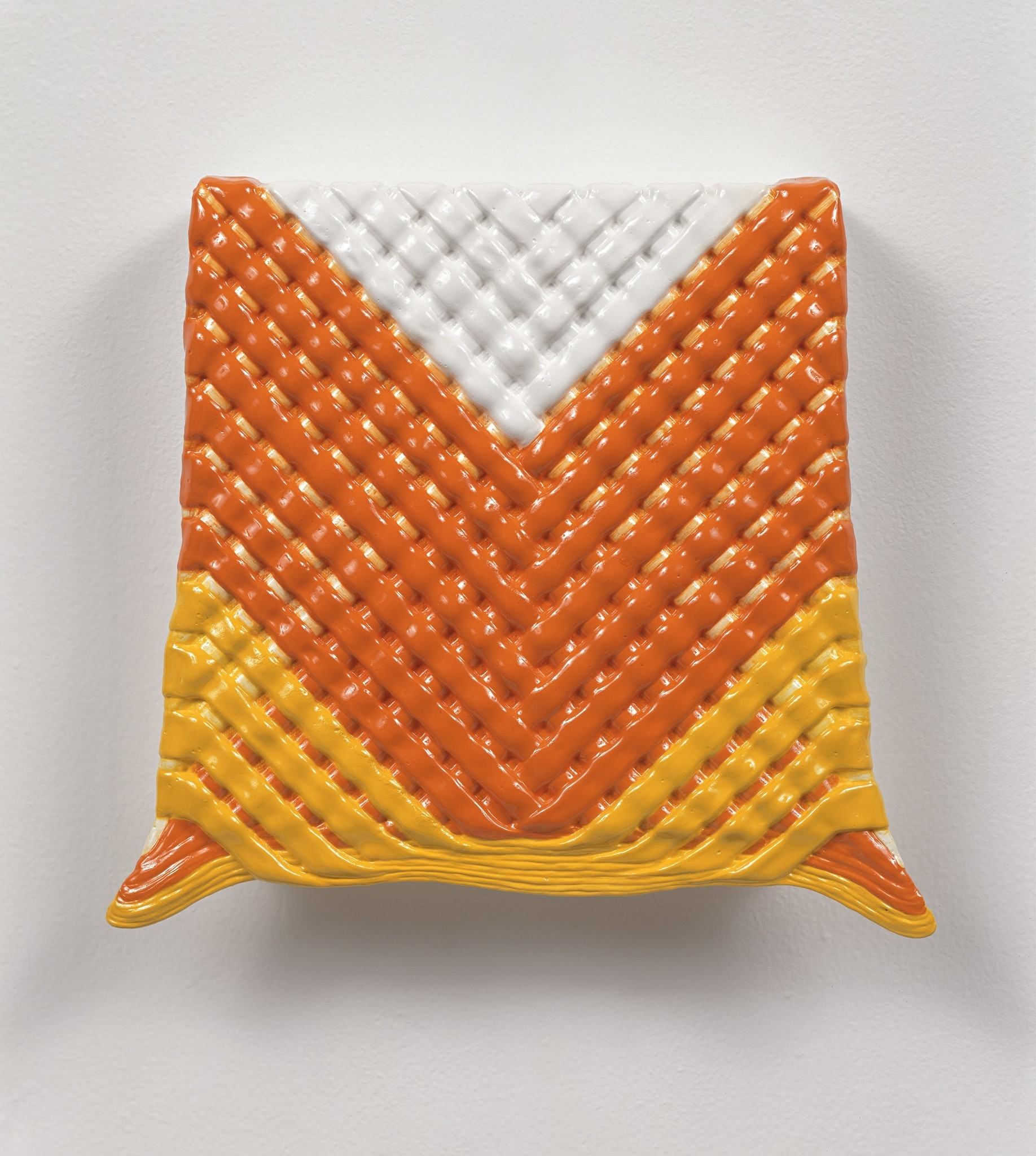"""Candy Corn Weave,"" 1994, by Linda Stark, on view at the Orange County Museum of Art."