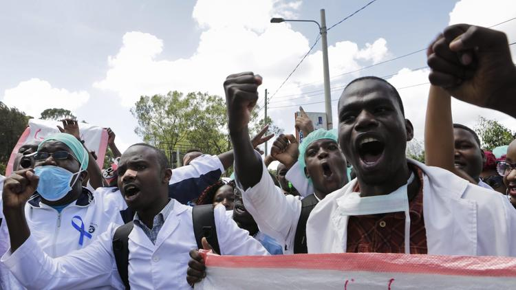 Striking Kenyan doctors and health workers protest in the Kenyan capital, Nairobi, in December.