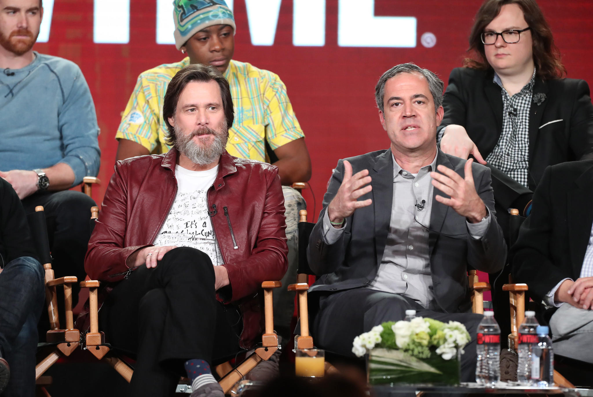 Actors Andrew Santino, RJ Cyler and Clark Duke, back row, with executive producers Jim Carrey and Michael Aguilar of Showtime's