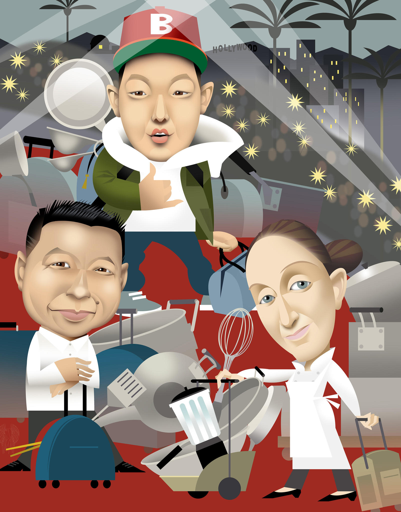 A host of renowned and up-and-coming chefs are coming to Los Angeles. From left: Charles Phan , Eddie Huang and April Bloomfield are among them.