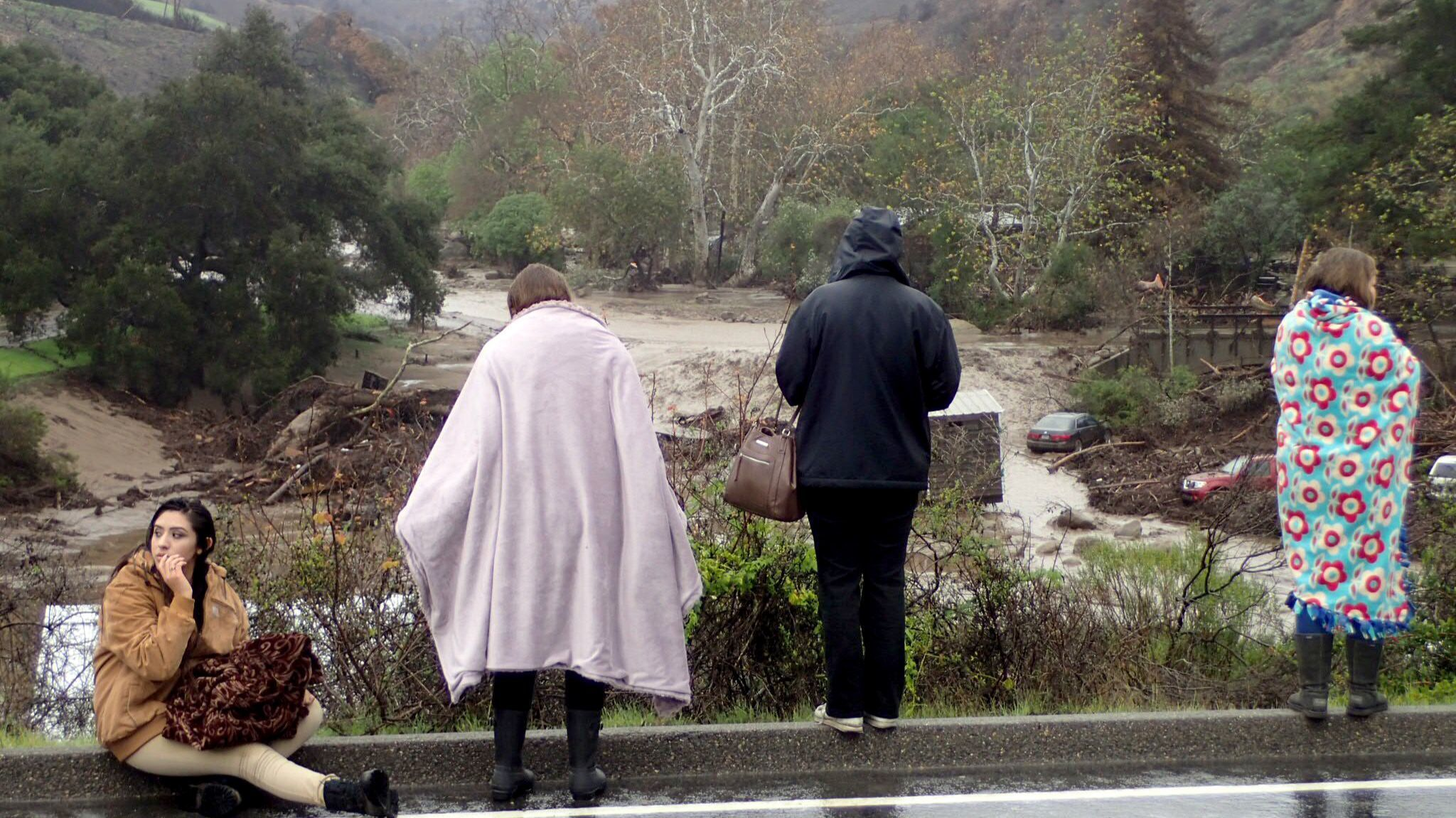 Flooding in the Sherpa fire burn area in Santa Barbara has caused several cabins in El Capitan Canyon to wash down the stream and forced evacuations.