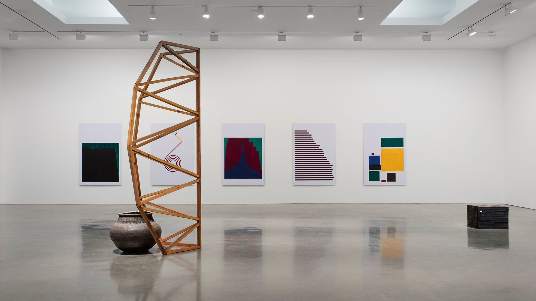 """Installation view of Theaster Gates' """"But to Be a Poor Race."""""""