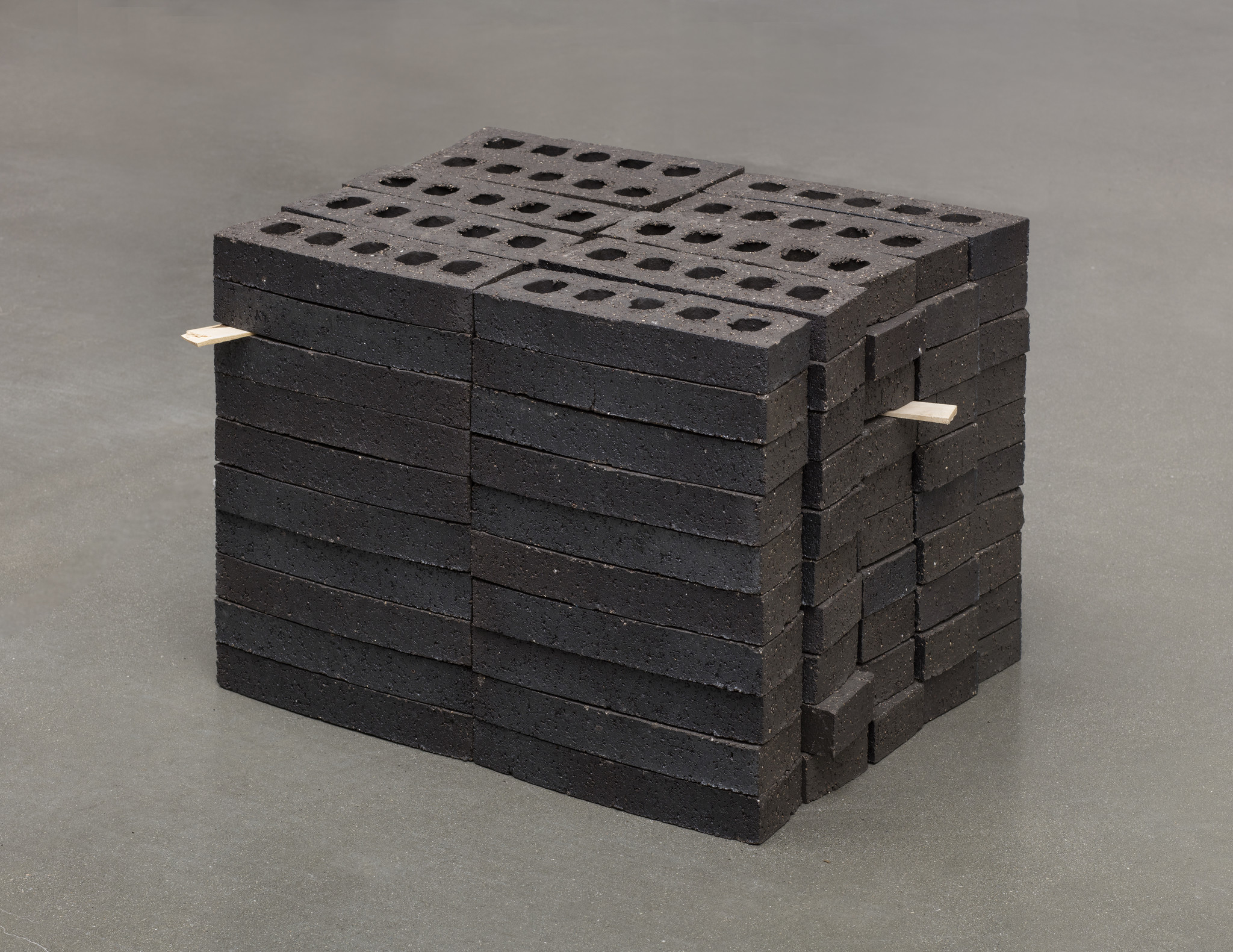 """Theaster Gates' """"Study for Pavillion,"""" 2017, bricks 16 1/2 inches by 24 1/4 inches by 21 1/4 inches."""