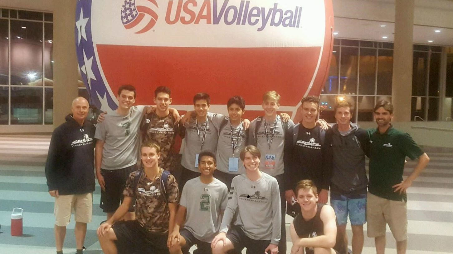 Armando Abarca, standing third from left, and his Seaside teammates participate in a USA Volleyball competition.