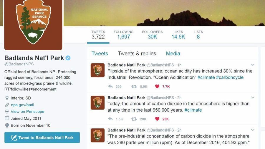 On Tuesday, Jan. 24, 2017, an official Twitter account for the National Park Service sent out a series of tweets about man-made impacts on climate change.