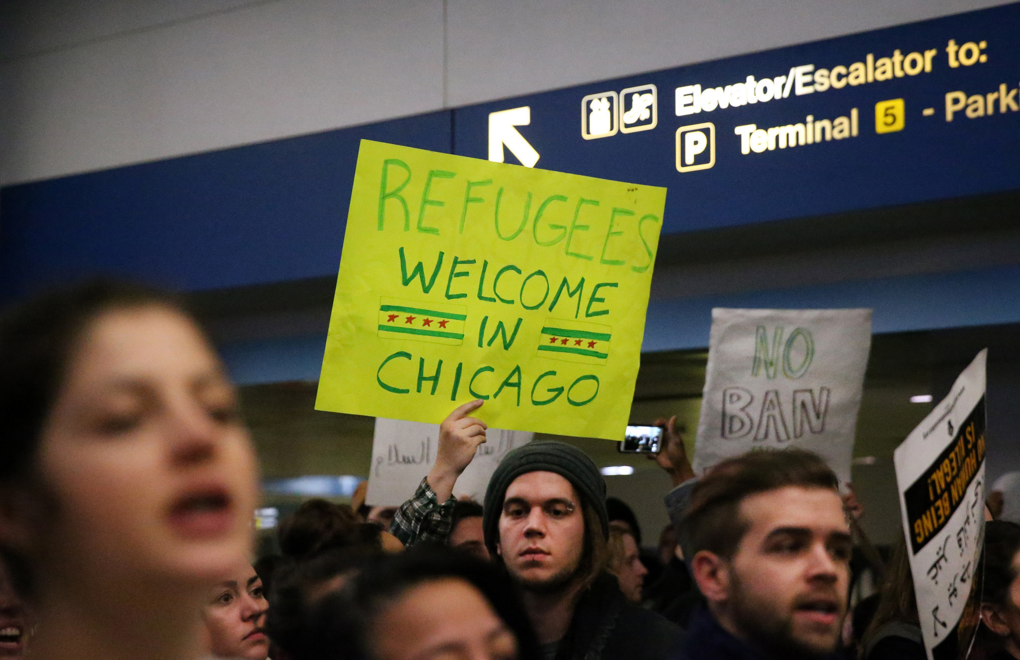 Protesters Gather At O Hare Airport After Travelers Held
