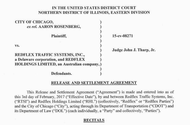 Pdf Redflex Settlement Agreement Chicago Tribune