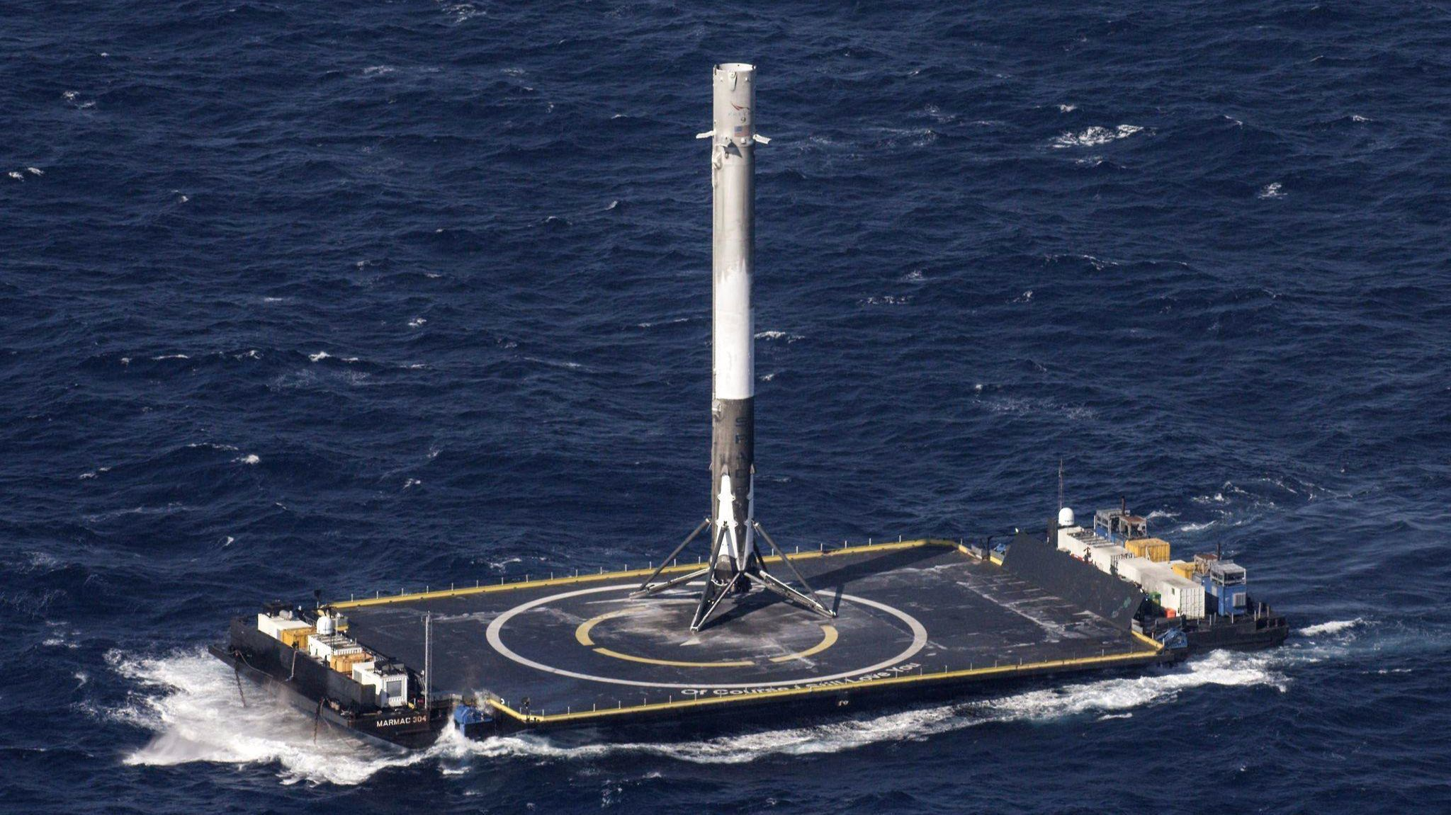 This first-stage booster of a SpaceX Falcon 9 rocket landed on a platform at sea in the Atlantic Ocean on April 9, 2016.