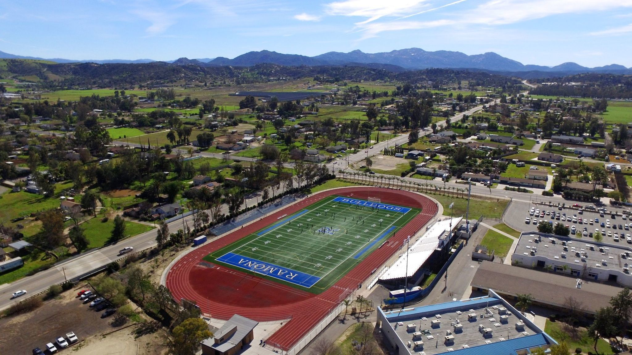Bulldog ONE takes an overhead shot of the Ramona High School campus and surrounding area.